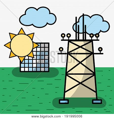energy tower and solar energy with clouds vector illustration