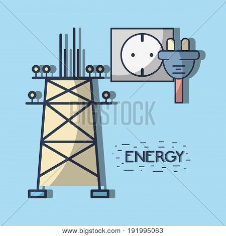 energy tower and electronic cable power vector illustration