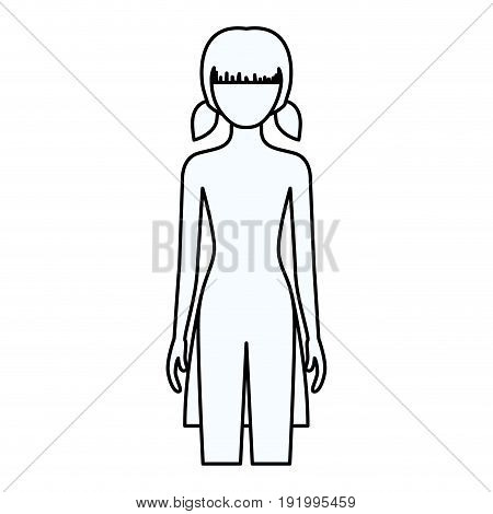 sketch silhouette of faceless front view girl naked body with pigtails hairstyle vector illustration