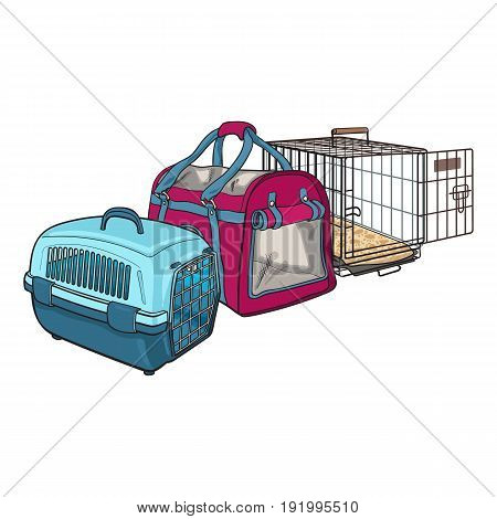 Three type of pet carrier, transport bag, plastic case, metal wire, sketch vector illustration isolated on white background. Set of fabric, plastic and metal wire pet carried, transport, travel bag