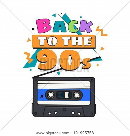 Old fashioned, retro audio cassette from 90s, sketch vector illustration isolated on white background. Front view of hand drawn audio cassette, tape with empty label sticker, retro object from 90s