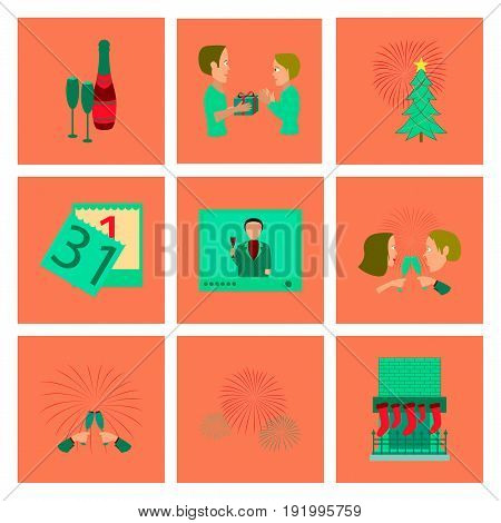 assembly of flat illustration New Year celebration