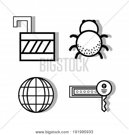 set padlock and global with key and spider vector illustration