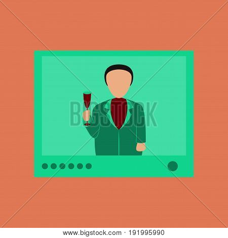 flat illustration on stylish background of President on TV