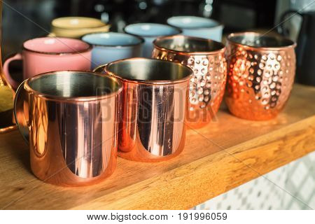Vintage shining copper or brass ethnic decorative cups