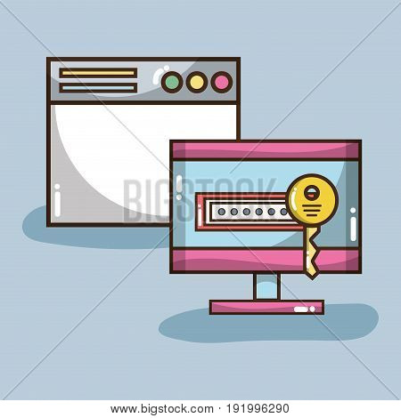 technology window and computer with password and key vector illustration