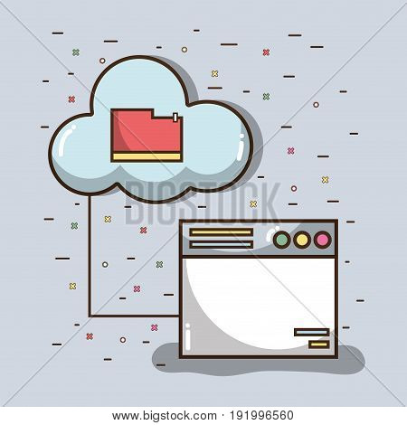 technology window with file inside of cloud vector illustration