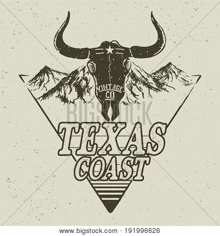 Skull of bull on mountains background.Western logo.Vector retro label.Texas coast