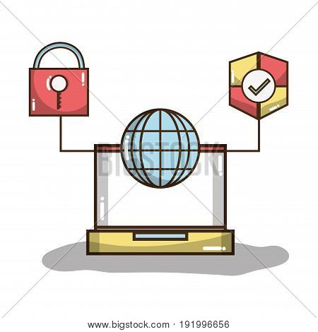 laptop with global and shield with padlock symbols vector illustration