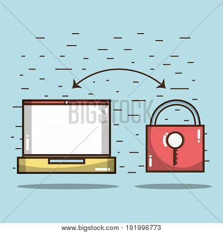 technology laptop with padlock services icon vector illustration