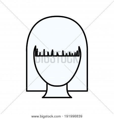 sketch silhouette of faceless woman with straight hairstyle vector illustration
