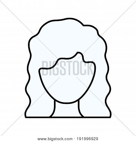 sketch silhouette of faceless woman with wavy medium hairstyle vector illustration