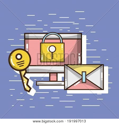 television with e-mail and padlock with key vector illustration