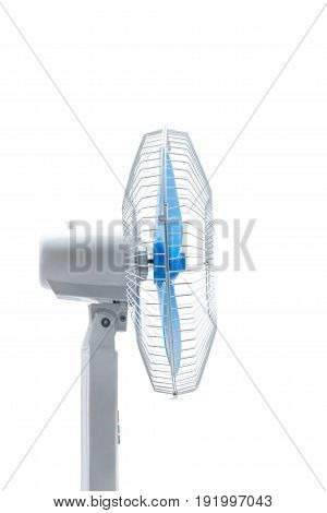 Side view of isolated plastic electric fan isolated on white background