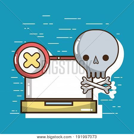 laptop with skull with bones symbols vector illustration