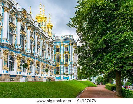 RUSSIA Tsarskoe Selo - JULY 20 2013. The Palace Church in Tsarskoe Selo
