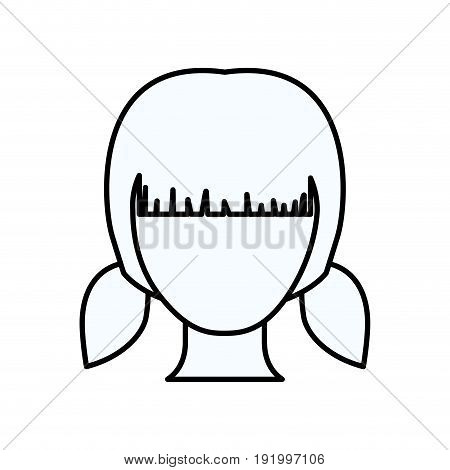 sketch silhouette of faceless girl with pair pigtails hairstyle vector illustration