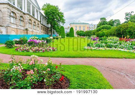 RUSSIA Tsarskoe Selo - JULY 20 2013. Lawn at the Cameron Gallery in Tsarskoye Selo