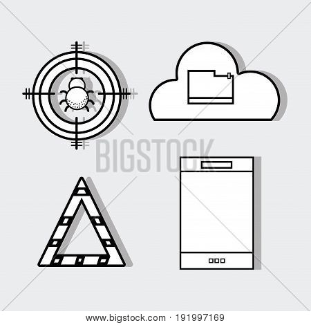 set smartphone with technology elements icons vector illustration