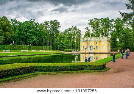 RUSSIA Tsarskoe Selo - JULY 20 2013. Upper bath in Tsarskoye Selo