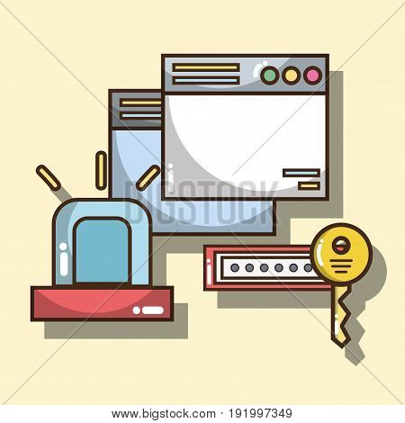 technology windows with alarm and password with key vector illustration