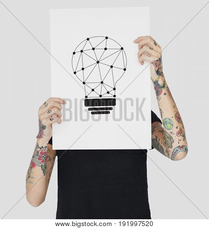 Hands holding banner network graphic overlay