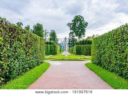 RUSSIA Tsarskoe Selo - JULY 20 2013. Alleys and sculpture in the park in Tsarskoye Selo
