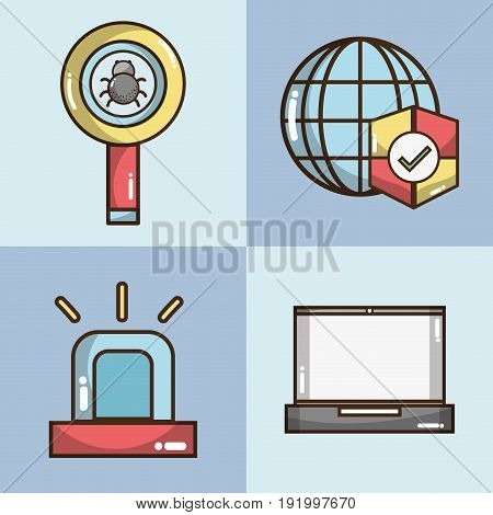 set technology elements with apps icons vector illustration
