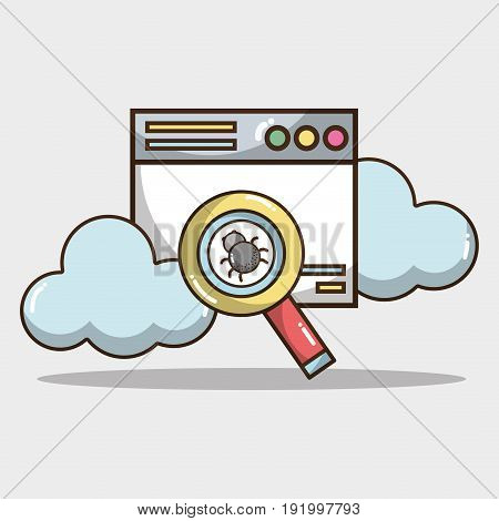 technology window with clouds and spider inside magnifying glass vector illustration