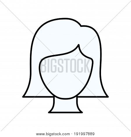 sketch silhouette of faceless woman with straight short hair vector illustration