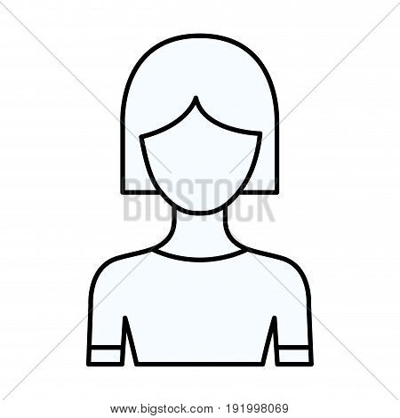 sketch silhouette of faceless half body woman with short hair vector illustration