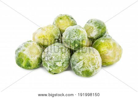 Heap Of Frozen Brussels Sprouts Isolated On White