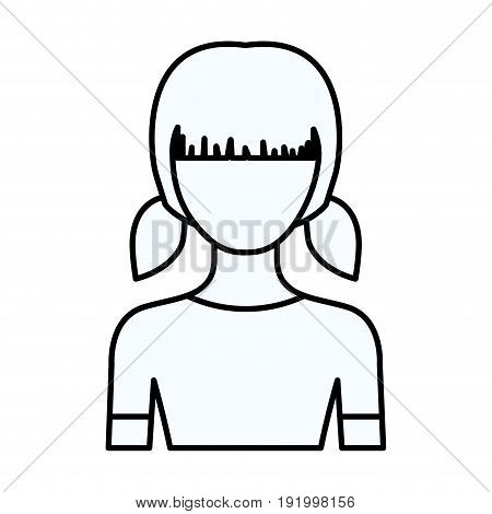 sketch silhouette of faceless half body girl with pigtails hairstyle vector illustration