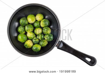 Frying Pan With Brussels Sprouts Isolated On White