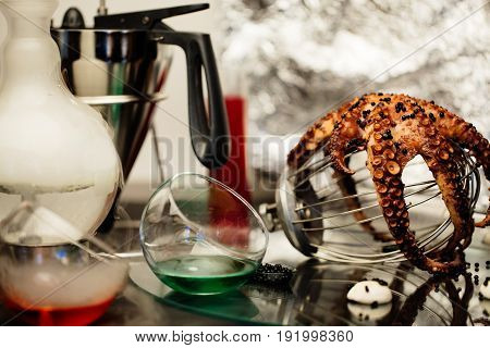 Seafood and kitchen equipment on a white background