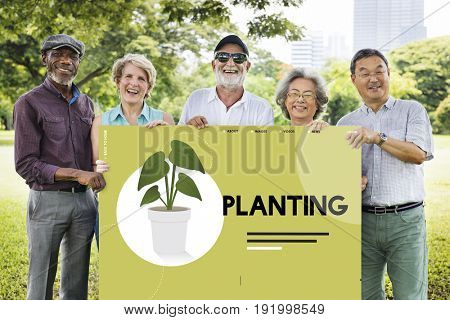 Group of senior people going green in the park