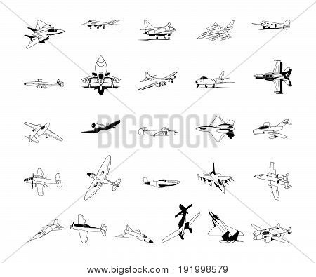 Airplane clipart. Vector Illustration design. Collection set