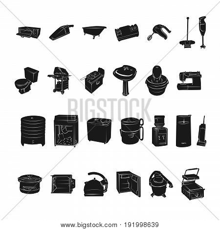 silhouettes of home appliances.. Vector Illustration.. Collection set