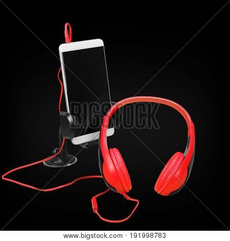Musical equipment - Red headphone and smartphone on a black background.