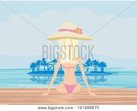 girl in bikini and tropical pool , vector illustration