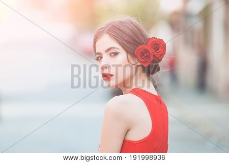 Girl With Red Lips, Makeup On Adorable, Young Face