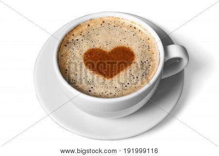 Art coffee symbol heart latte close up table