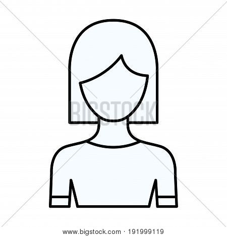 sketch silhouette of faceless half body woman with straight short hairstyle vector illustration