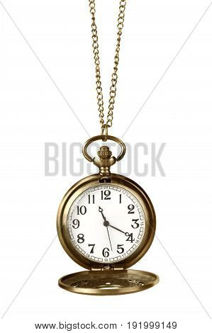 Old watch pocket white background isolated closeup