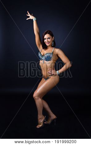 Beautiful Showgirl In Suit With Rhinestones.