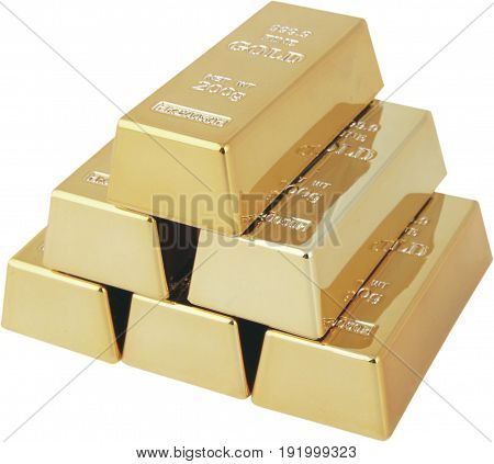 Bar isolated gold bars white background money