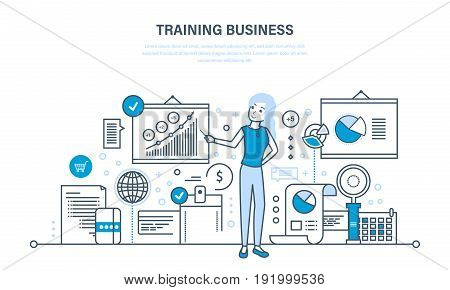 Business training, consulting, learning and teaching, professional and career growth, teamwork. Illustration thin line design of vector doodles, infographics elements.