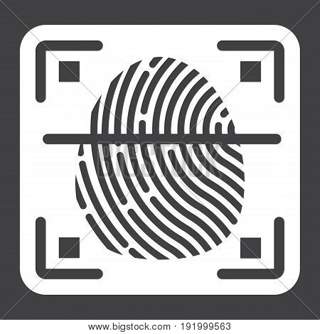 Fingerprint scanner solid icon, id and security, vector graphics, a glyph pattern on a black background, eps 10