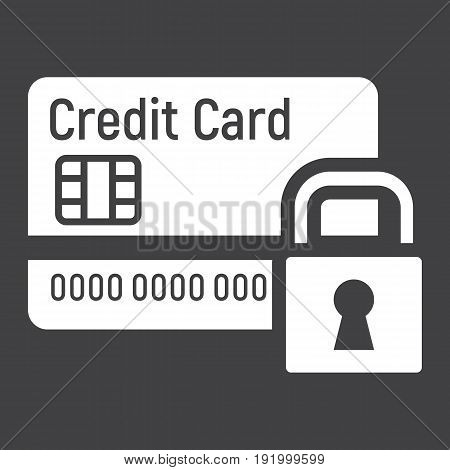 Credit Card with padlock solid icon, protection and security, vector graphics, a glyph pattern on a black background, eps 10.