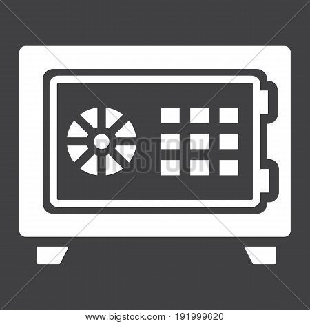 Strongbox solid icon, bank safe and security, vector graphics, a glyph pattern on a black background, eps 10.